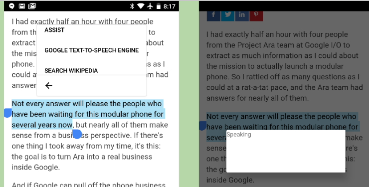 Google text to speech- highlight text and read