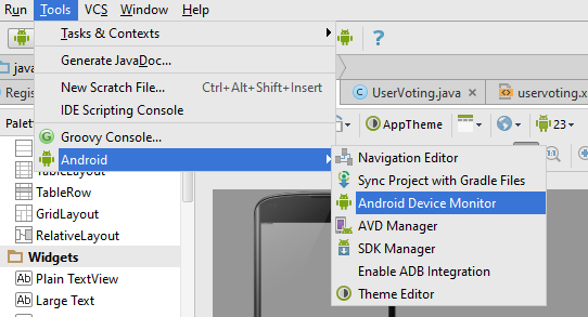 Run Android Device Monitor