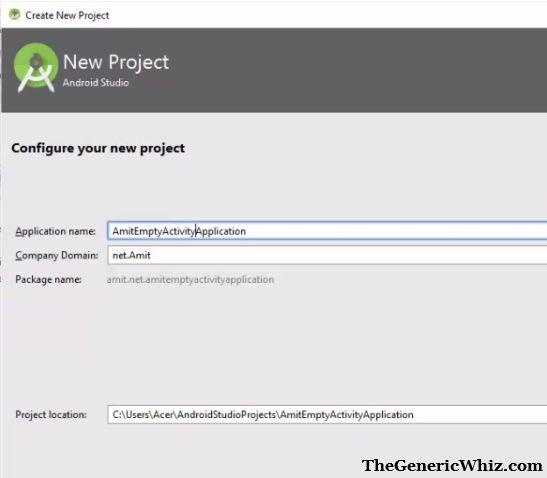 Figure 5- Create a new project Empty Activity application
