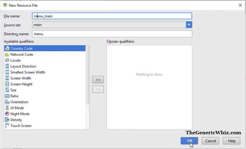 Figure 5- Naming menu resource menu_main