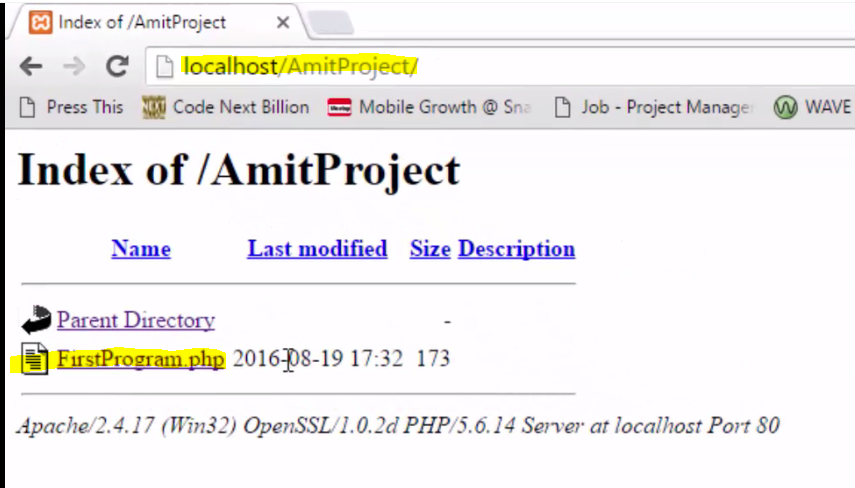 Xampp Server - figure-6-open-ypur-project-in-browser